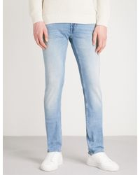 7 For All Mankind Blue Slimmy Luxe Performance Skinny Jeans for men