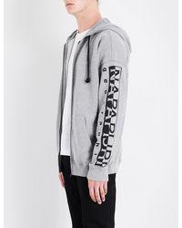 Napapijri - Gray Badstow Cotton-jersey Hoody for Men - Lyst