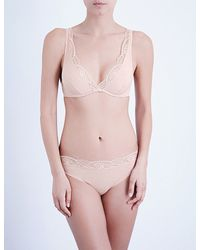 bb8033a4dc9fc Lyst - Wolford Cotton Contour Lace Skin Underwired Bra in Pink