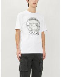 Aape White Logo-print Cotton-jersey T-shirt for men