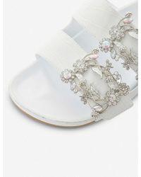 Dune White Natasia Embellished Sliders
