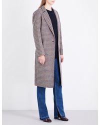 Sandro Gray Check Single-breasted Wool Coat