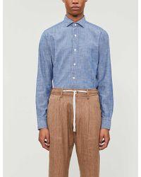 Eleventy Blue Dandy Slim-fit Denim Shirt for men