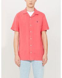 Polo Ralph Lauren Pink Short-sleeved Regular-fit Linen Shirt for men