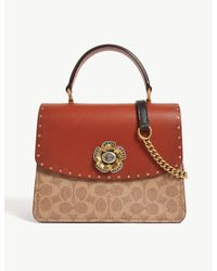 COACH Red Parker Leather And Coated Canvas Shoulder Bag