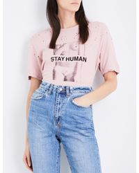 Ksubi | Pink Ladies Midnight Blue Casual Stay Human Cotton And Linen-blend T-shirt | Lyst