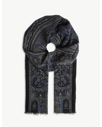 Etro Blue Paisley Print Wool-cashmere Scarf for men