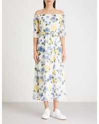 The Kooples - Multicolor Wild Rose Floral Off-the-shoulder Crepe Maxi Dress - Lyst