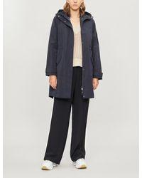 Ted Baker Blue Drawstring-hood Asymmetric-hem Shell Jacket