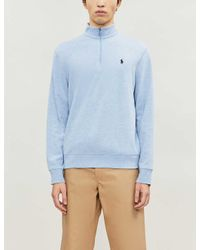 Polo Ralph Lauren Blue Logo-embroidered Zip-up Cotton-jersey Top for men