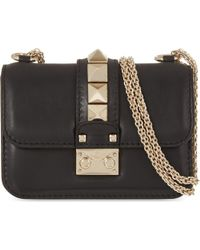 Valentino - Black Rockstud Lock Mini Clutch Bag - Lyst