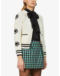 RED Valentino White Graphic-pattern Wool Cardigan