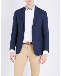 Polo Ralph Lauren | Blue Tickweave Wool And Silk-blend Blazer for Men | Lyst