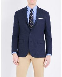 Polo Ralph Lauren | Blue Checked Wool And Silk-blend Blazer for Men | Lyst