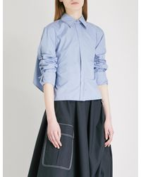 Sportmax Blue Gap Cotton-blend Shirt