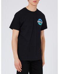 Topman Black Parallel Cotton-jersey T-shirt for men