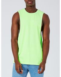 Topman Green Dropped Armhole Cotton-jersey Vest Top for men