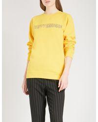 Ganni - Yellow Happy Endings Cotton-jersey Sweatshirt - Lyst