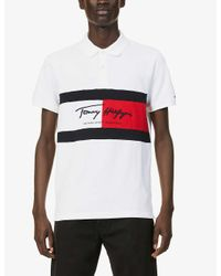 Tommy Hilfiger White Brand-embroidered Slim-fit Cotton-jersey Polo Shirt for men