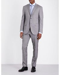 Corneliani | Gray Checked Regular-fit Wool Suit for Men | Lyst