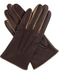 Dents - Brown Josephine Metallic-detail Leather Gloves - Lyst