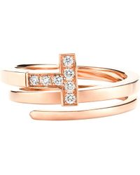 Tiffany & Co - Metallic Tiffany T Wrap Ring In 18k Rose-gold With Diamonds - Lyst