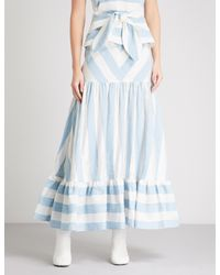 Paper London Blue Marianne Striped Woven Midi Skirt