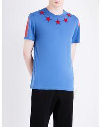 e4a8ca1ff67e0 Lyst - Givenchy Star Appliqué Cotton-jersey T-shirt in Blue for Men