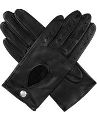 Dents Black Leather Keyhole Driving Gloves
