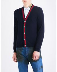 Gucci Black Striped Wool Cardigan for men