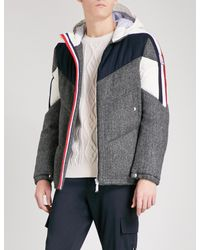 Moncler Gamme Bleu Gray Logo-detail Quilted Down And Feather-blend Jacket for men