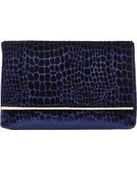 Dune - Blue Bronto Faux-croc Foldover Clutch Bag - Lyst