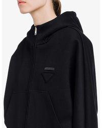 Prada Black Hooded Logo-patch Cotton-blend Jacket