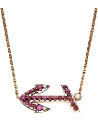 Annina Vogel - Purple 9Ct Gold Bespoke Ruby Anchor Necklace - For Women - Lyst