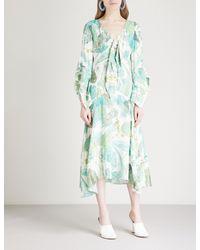Peter Pilotto Multicolor Leaf-print Crepe Midi Dress