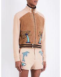 Topman Multicolor Design Embellished Suede And Cotton Jacket for men