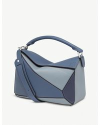 Loewe Ladies Varsity Blue Modern Puzzle Leather Shoulder Bag