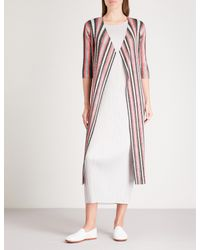 Pleats Please Issey Miyake - Pink Union Stripe Longline Pleated Cardigan - Lyst