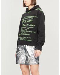 M I S B H V Black Nightclub Text-print Jersey Hoody
