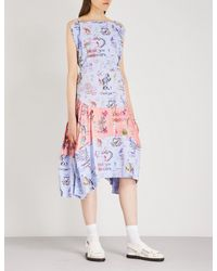 Vivienne Westwood Anglomania Blue Violet Printed Cotton And Satin Dress