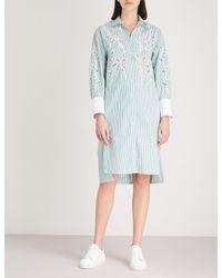 Sandro Blue Embroidered Leaf Silk Dress