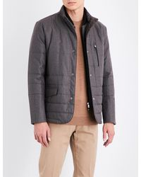 Corneliani - Brown Tonal-pattern Technical Quilted Jacket for Men - Lyst