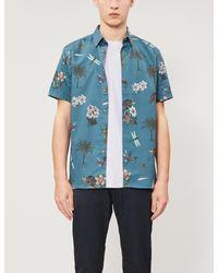 Ted Baker Blue Group Floral-print Regular-fit Cotton Shirt for men
