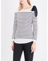 Claudie Pierlot White Trocadero Striped Jersey Top