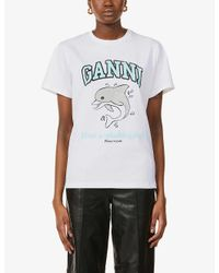 Ganni White Have A Splashing Day-print Organic Cotton-jersey T-shirt