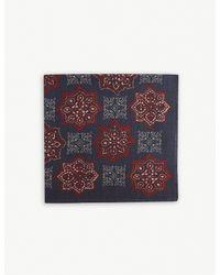Eton of Sweden Black Printed Wool And Silk-blend Pocket Square for men