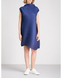 Pleats Please Issey Miyake - Blue High-neck Pleated Dress - Lyst