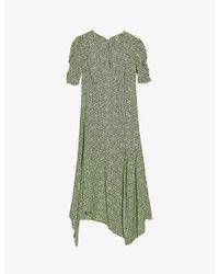 TOPSHOP Green Graphic-print Crepe Midi Dress