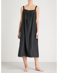Bodas - Black Montauk Square Neck Cotton And Silk-blend Nightdress - Lyst