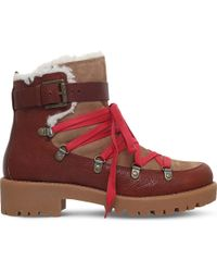 Nine West Red Orynne Lace-up Leather Ankle Boots